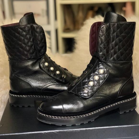 Rare Chanel Cc Combat Boots 42